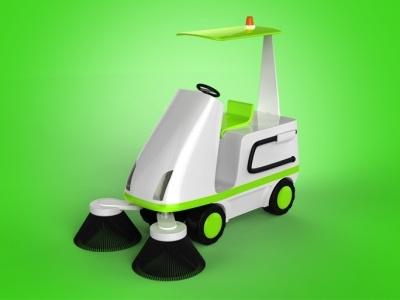 Hoover hoover 3d render green car cleaner