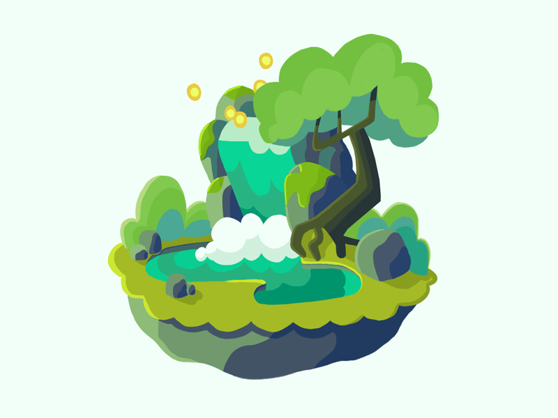 Waterfall  blue green flat colour floating island waterfall environment