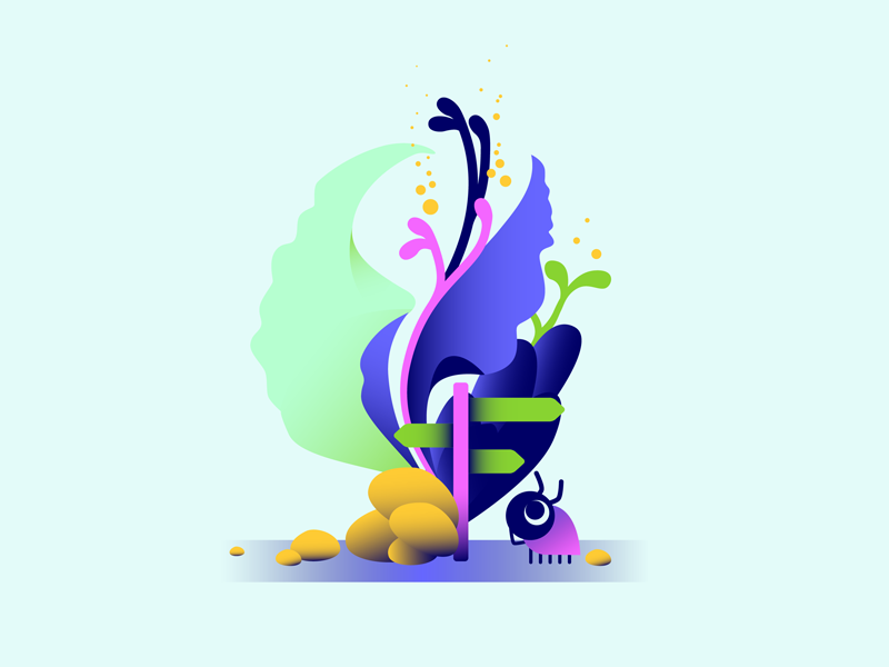 """""""It would be helpful if I could read..."""" plants tiny world gradient bug illustration"""