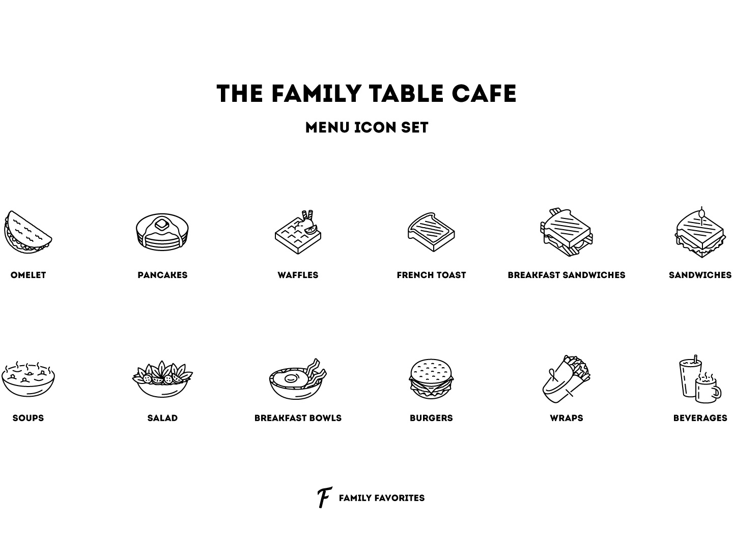 The Family Table Cafe - Icon Set graphic design brunch icons icon set breakfast menu