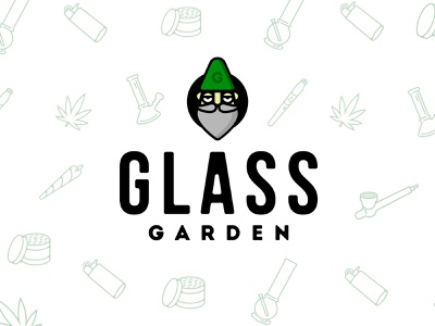 Glass Garden Mascot beard face mascot logo mascot pattern brand logo shop smoke gnome