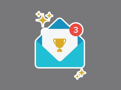 Notification trophy envelope notification award illustration icon