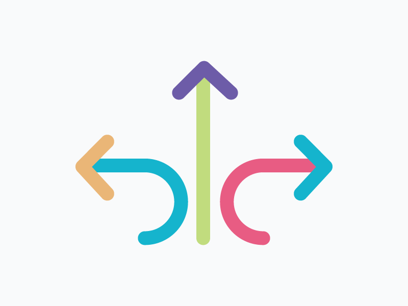 Icon – Controlled Flexibility colourful arrows illustration icon