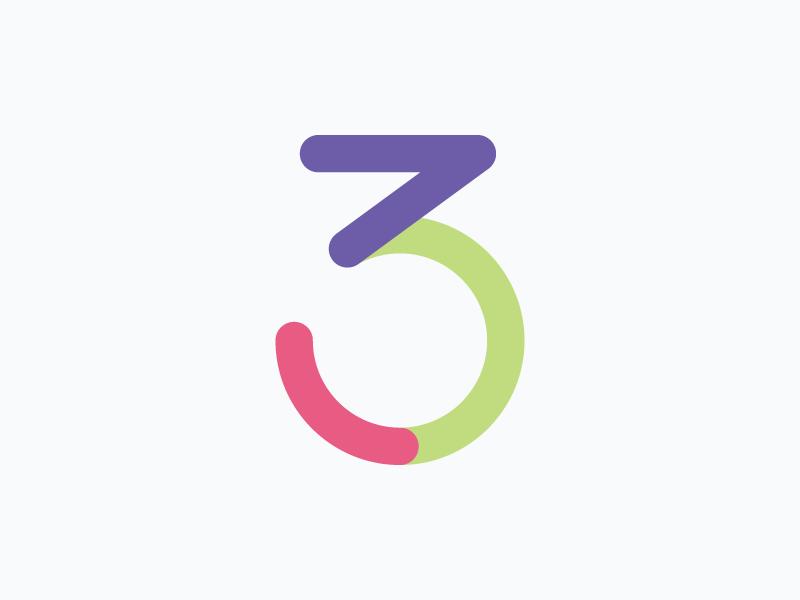 Icon – Three three number icon illustration