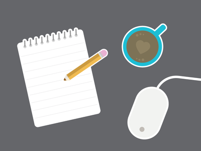 Note Taking vector icons mouse notepad coffee illustration