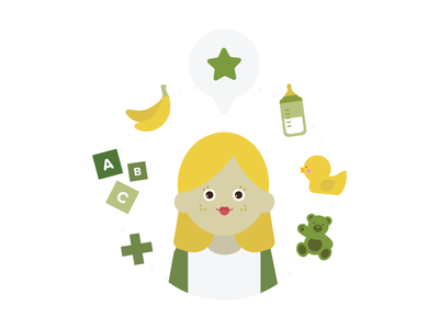Babysitter baby child theme illustration vector