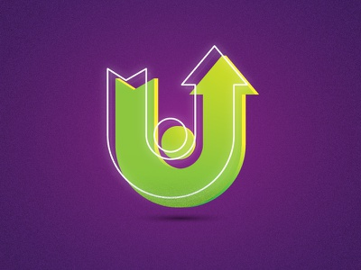 36 days of type - U typography typo circle gradient green arrow white purple letter lettering 36daysoftype 36days