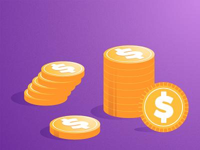 Money Illustration white yellow gold purple dollars dollar money bussiness