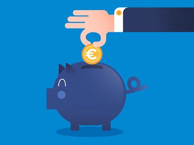 Business Piggy Bank bank piggy pig blue hand flat money savings euro economy sale business