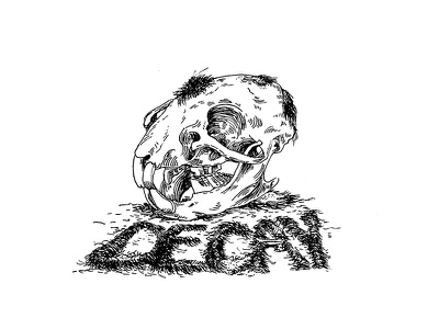 Decay  sketch inktober brush draw ink drawing dead fur hair skeleton decay