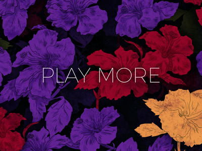 Play More Flowers Illustration pattern illustration photoshop drawing art yellow purple magenta red nature