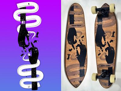Cruiser Skateboard Design Ateluhm blood wood hand illustration design cruiser skateboard board krado radu calin ateluhm