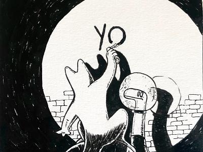 Yo - Bande de Sauvages monsters tag design graphic ink illustration