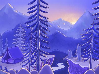 Scene De Montagne landscape mountains procreate digital painting colors nature illustration