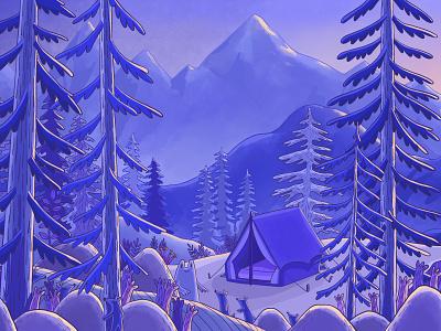 Scene De Montagne bis landscape mountains procreate digital painting colors nature illustration