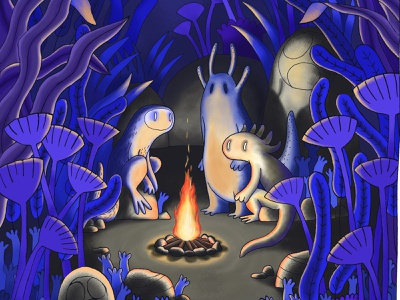 Campfire with Bande de Sauvages nature photoshop digital illustration digital painting ink bandedesauvages monster forest campfire fire illustration