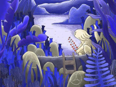 Reflexion with Bande de Sauvages nature illustration bandedesauvages digital illustration digital painting ink wind monster nature illustration