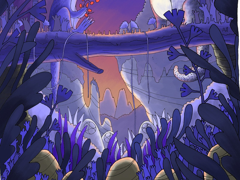 Under the tree when the sun rises photoshop digital illustration digital painting drawing ink bandedesauvages monster nature illustration