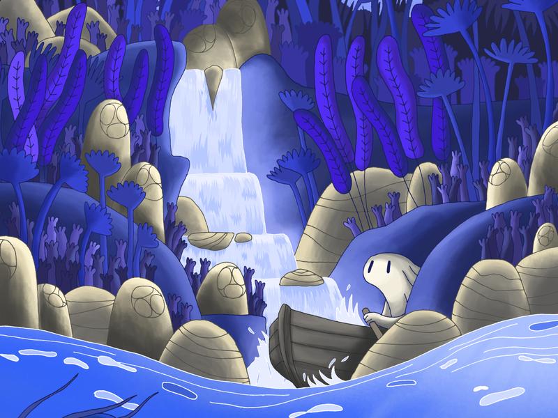 Waterfalls waterfalls nature monster ink illustration digital painting digital illustration bandedesauvages