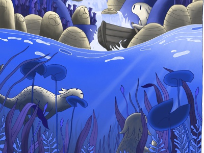 Underwater with Bande de sauvages underwater drawing digital painting ink bande de sauvages colors nature illustration