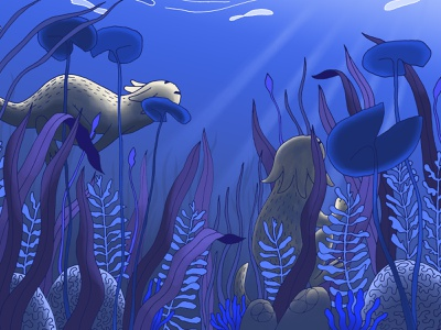 Underwater 2 with Bande de Sauvages digital painting water monster colors ink bande de sauvages illustration