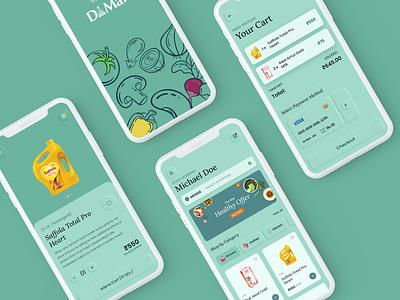 Dmart App - Online Grocery Shopping (Concept) ui design store light superstore delivery ondemand iphoneui modern neumorphic minimal app ui dmart grocery app