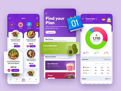 GetSmartPlate - Concept Design modern trending food illustration xd design appuidesign purple minimal food nutrition diet