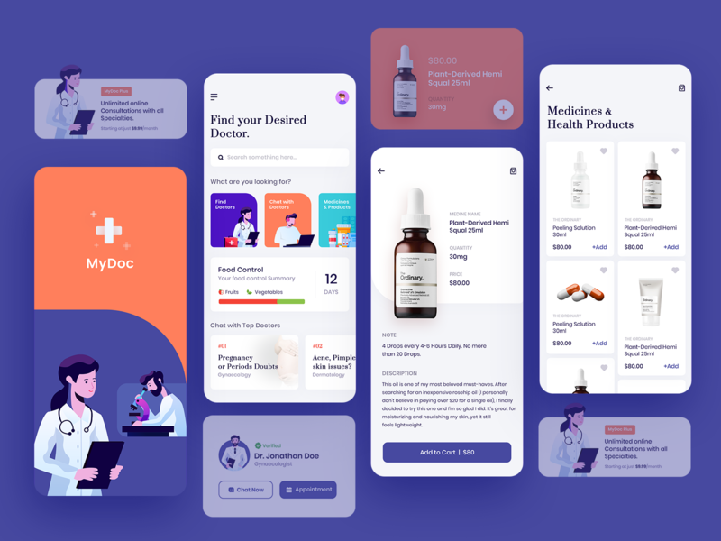 Doctor Consultation App UI uidesign userinterface inspiration illustrator xd photoshop ux ui healthy health app healthcare consultation medicines health