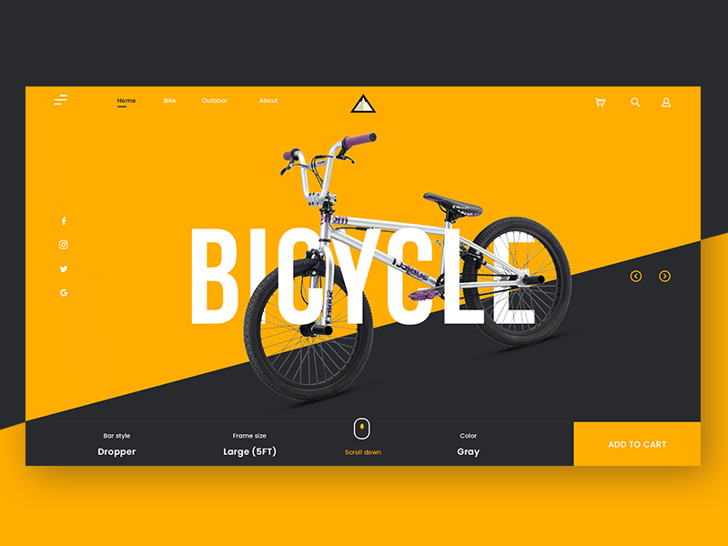 Bike website UI Design uiinspiration webdesign photoshop ux ui illustration landing website bicycle