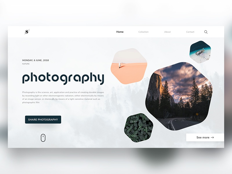 Stunning Photography Website Landing page illustrator photoshop inspiration uidesign wireframing dailyui ux ui webdesigner designinspiration webdesign userinterface