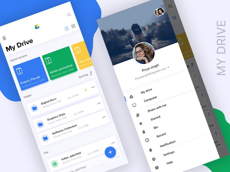 Modernize Google Drive UI illustrator photoshop inspiration uidesign wireframing minimalist ux ui modern designinspiration appdesign userinterface