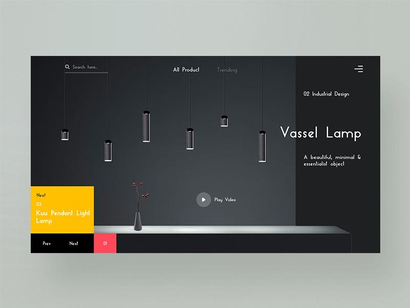 Vessel Lamp Website UI design illustrator photoshop inspiration uidesign wireframing dailyui ux ui webdesigner designinspiration webdesign userinterface