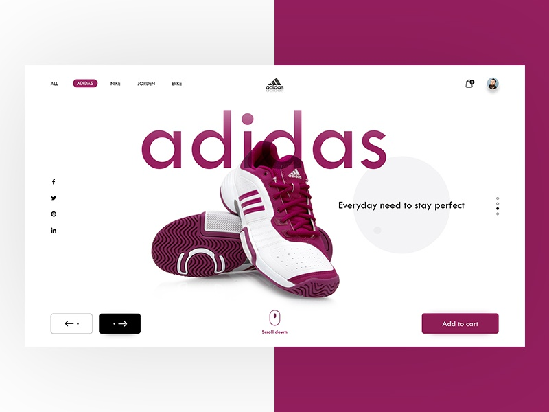 Adidas Website Landing UI Glimpse illustrator photoshop inspiration uidesign wireframing dailyui ux ui webdesigner designinspiration webdesign userinterface
