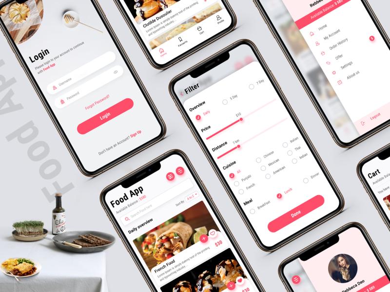 Food App trending user interface design mobile ui best order food online app restaurant app userinterface illustrator inspiration ux ui