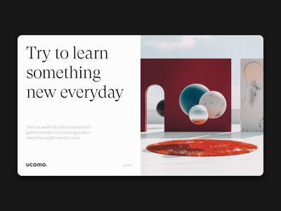 Learning every single day composition motivation red design ui art direction typogaphy render