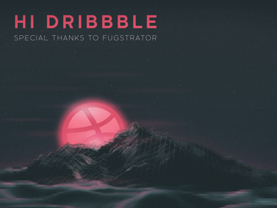 a new day a new start - Hi Dribbble! star art debut first pixel water sun mountain