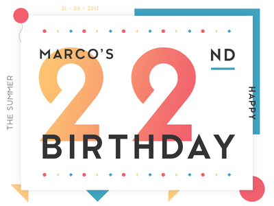 Happy birthday Marco! graphic design geometric shapes black red yellow blue fonts design colors birthday artwork