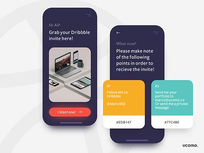 Dribbble invite time! design ucomo color pallete ux invites giveaway ui invites invite
