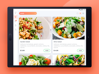 Restaurant App menu restaurant tablet grig list cards salad ui tasty android design app food