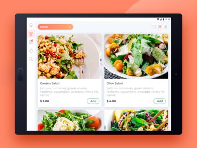 Restaurant App menu restaurant tablet grig list cards salad ui tasty android design app food