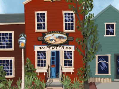 Rockport whimsical old town architecture painting illustration massachusetts new england rockport