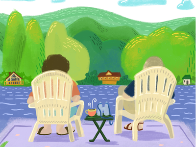 Lake Time relax travel sketch procreate vacation nature trees flat lake painting illustration