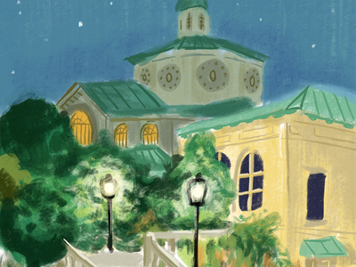 Nights in the Garden sketch nyc brooklyn nighttime illustration procreate painting architecture house garden