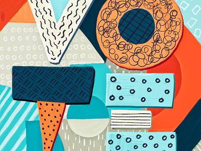 Vote pattern abstract block type typography illustration vote