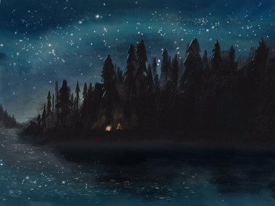Camping Magic milky way night sky stars forest design procreate tent travel illustration camping woods