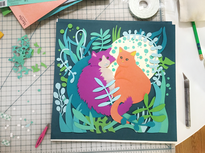 Cats in the Jungle wip illustration papercraft cat kitty
