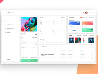 User interface dashboard admin