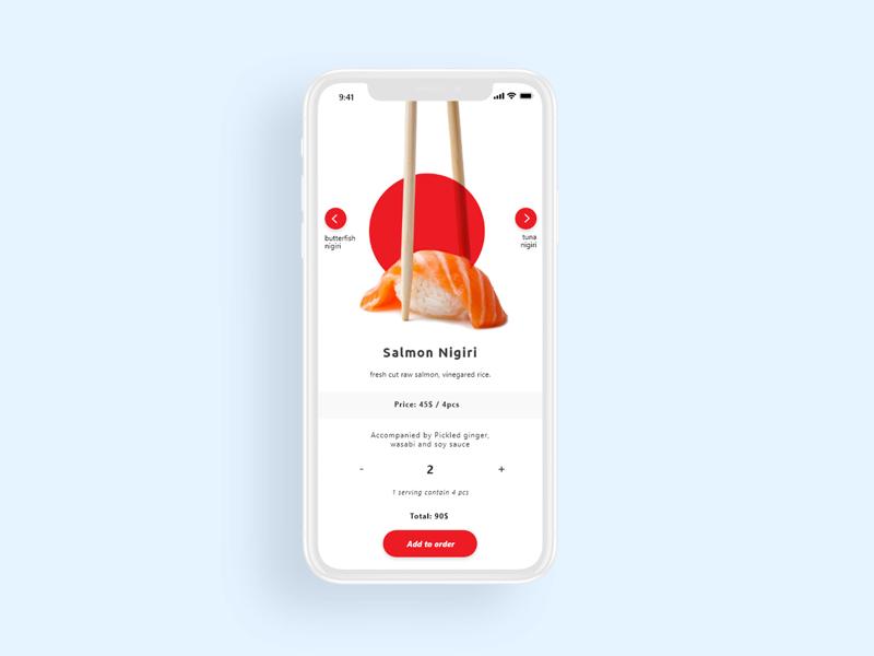 Sushi order menu ux sushi app design user interface ui