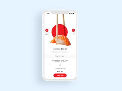 Sushi order menu