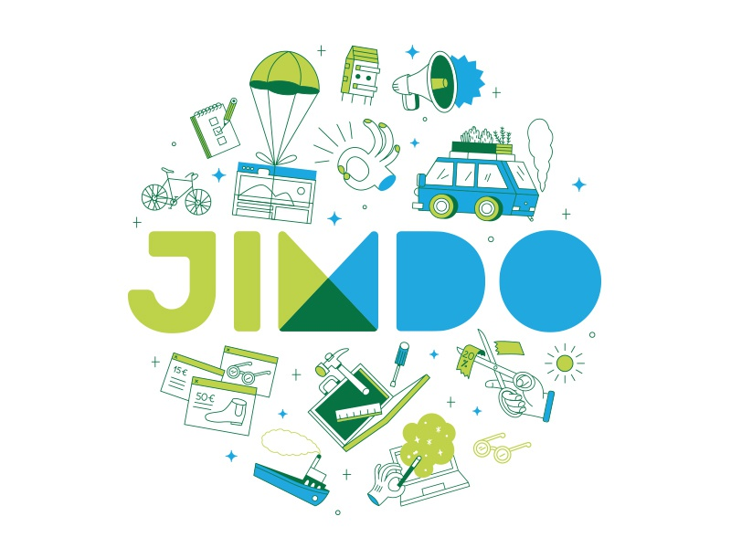 Jimdo Merchandise browser laptop web icons illustration design merchandise coater bag tote jimdo